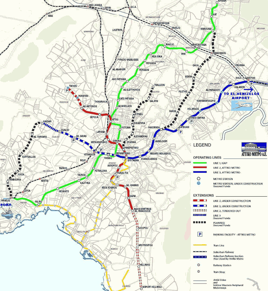 Subway Map Athens Greece.Athens Maps Athens Center Map Airport Map Attica Map Metro Map